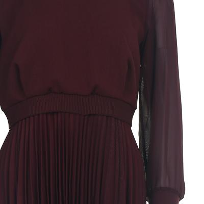 pleats detail see-through sleeve dress